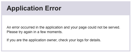 Heroku Application Error Page