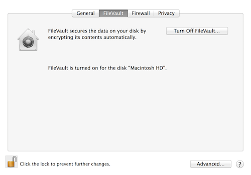 Habilite o FileVault 2